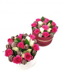 """Luxusný box z ruží a jahôd """"Janka"""" - 4 veľkosť"""