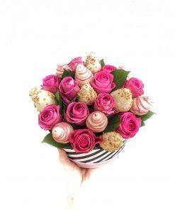 """Luxusný box z ruží a jahôd """"Lenka"""" - 4 veľkosti (kruh/srdce)"""