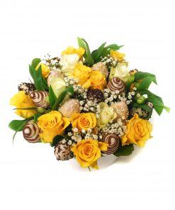 Luxusný box z kvetov a jahôd